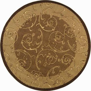 Indoor/ Outdoor Oasis Brown/ Natural Rug (53 Round)
