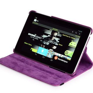 Nexus 7 Napa Leather Rotation Case with Bonus Anti glare Screen