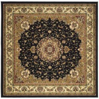 Lyndhurst Collection Traditional Black/ Ivory Rug (7 Square