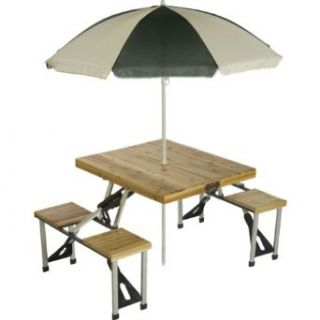 Picnic Plus Folding Picnic Table with Umbrella   Natural