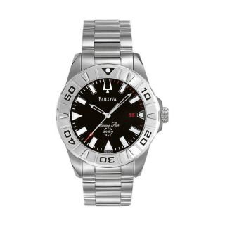Bulova Mens Marine Star Steel Stainless Case Black Dial Watch