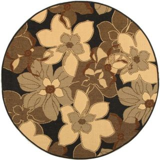 Indoor/ Outdoor Black/ Natural Rug (67 Round)
