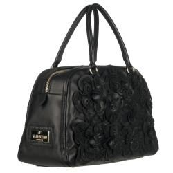 Valentino Flower Embellished Leather Bowler Bag