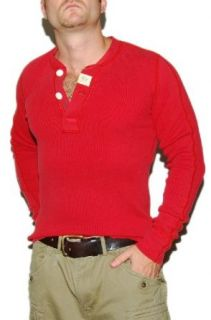 Polo Ralph Lauren RRL Mens Thermal Henley Shirt Red Small