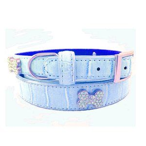 140 Swarovski Crystal Jeweled Crocodile Leather Dog Collar
