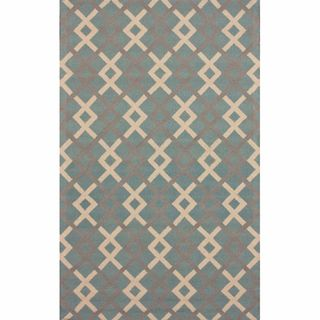 Handmade Trellis Light Blue Wool Rug