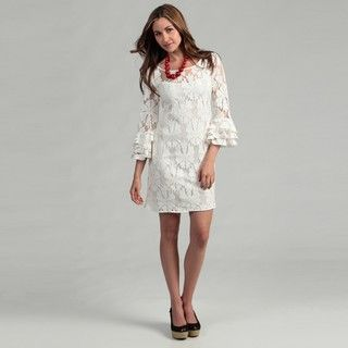 Jessica Howard Womens Cream Lace Dress
