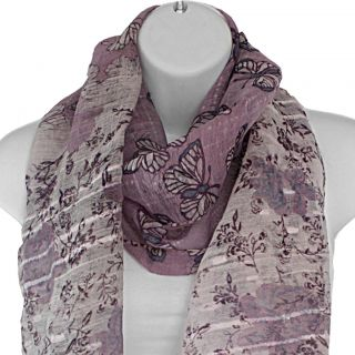 Hand woven Silk Lavender Butterfly in Rose Garden Scarf (India