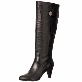 AK Anne Klein Womens Savilia Black Leather Boots FINAL SALE