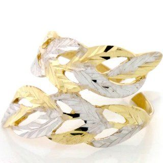 14K Solid Gold Two Tone Leaf Diamond Cut Unique Ring