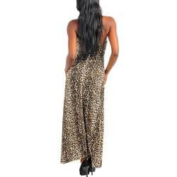 Stanzino Womens Leopard Print Halter Maxi Dress