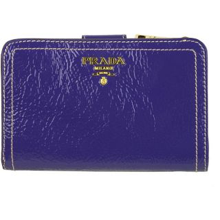 Prada Vernice Purple Crackled Leather French Wallet