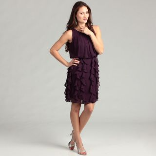 Jessica Howard Womens Eggplant Ruffle Dress