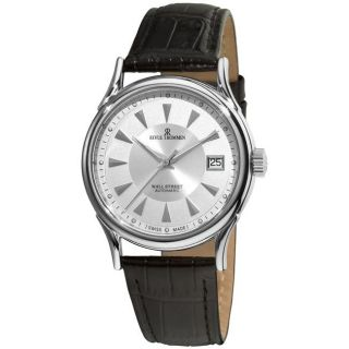 Revue Thommen Mens Wallstreet Black Leather Strap Silver Face Watch