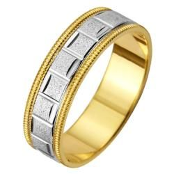 14k Two tone Gold Mens Milligrain Roman Easy Fit Wedding Band