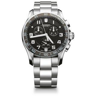 Swiss Army Mens Chrono Classic Black Dial Steel Band Watch MSRP $625