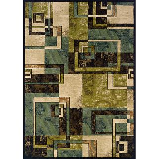 Beige/ Blue Contemporary Area Rug (310 x 55)