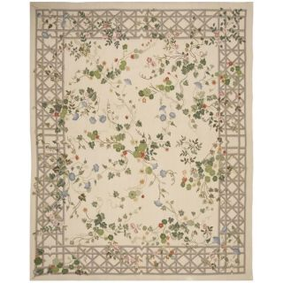 Hand knotted French Aubusson Weave Ivory Wool Rug (8 x 10