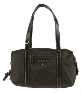 Prada Olive Green Nylon Satchel Handbag