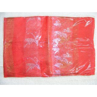 Womens 100% Thai Silk Scarf  Red with Ornate Silver/Gold