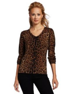 Sofie Womens 100% Cashmere Animal V Neck Cashmere Sweater