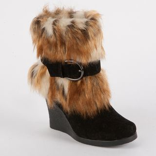 Muk Luks Andrea Belted Faux Fur Wedge Boot