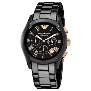 Emporio Armani Mens Ceramic Black Chronograph Dial Quartz Watch
