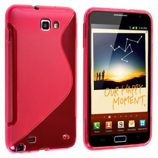 Frost Hot Pink S Shape TPU Rubber Case for Samsung Galaxy Note N7000
