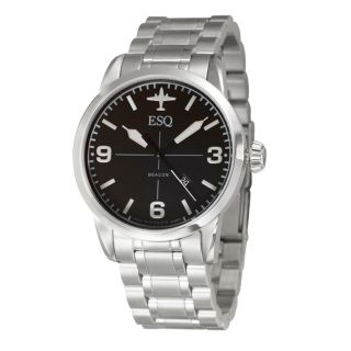ESQ by Movado Mens Beacon Black Dial Stainless Steel Watch