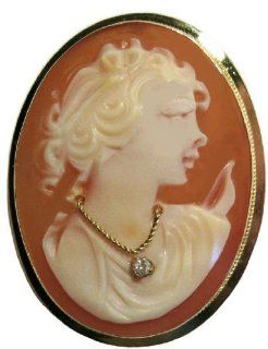 Goddess Diana, Cameo Pin Pendant Master Carved, 14k Gold