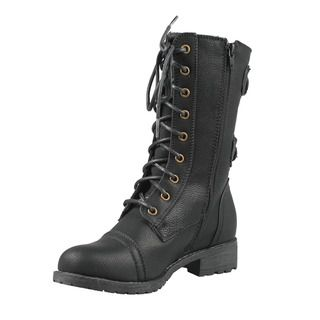 Wild Diva by Beston Womens TIMBERLY 02 Mid Calf Combat Boots