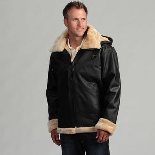 Tanners Avenue Mens Leather Shearling Bomber Jacket